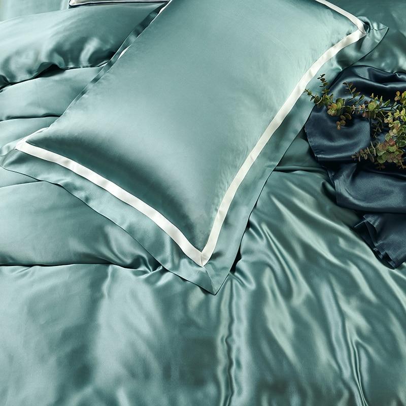 MANSPHIL الفاخرة 100% الحرير 25 Mumi مزدوجة فلاش طقم سرير الجمال الحرير المخدة ورقة حاف الغطاء لون نقي أربع قطع مجموعة