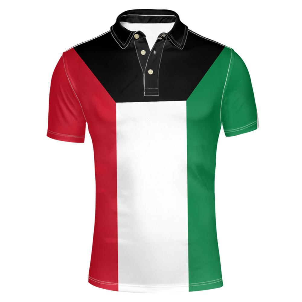 Kuwait youth livre feito sob encomenda nome número kwt polo camisa nação bandeira kw estado kuwait árabe faculdade impressão foto roupas