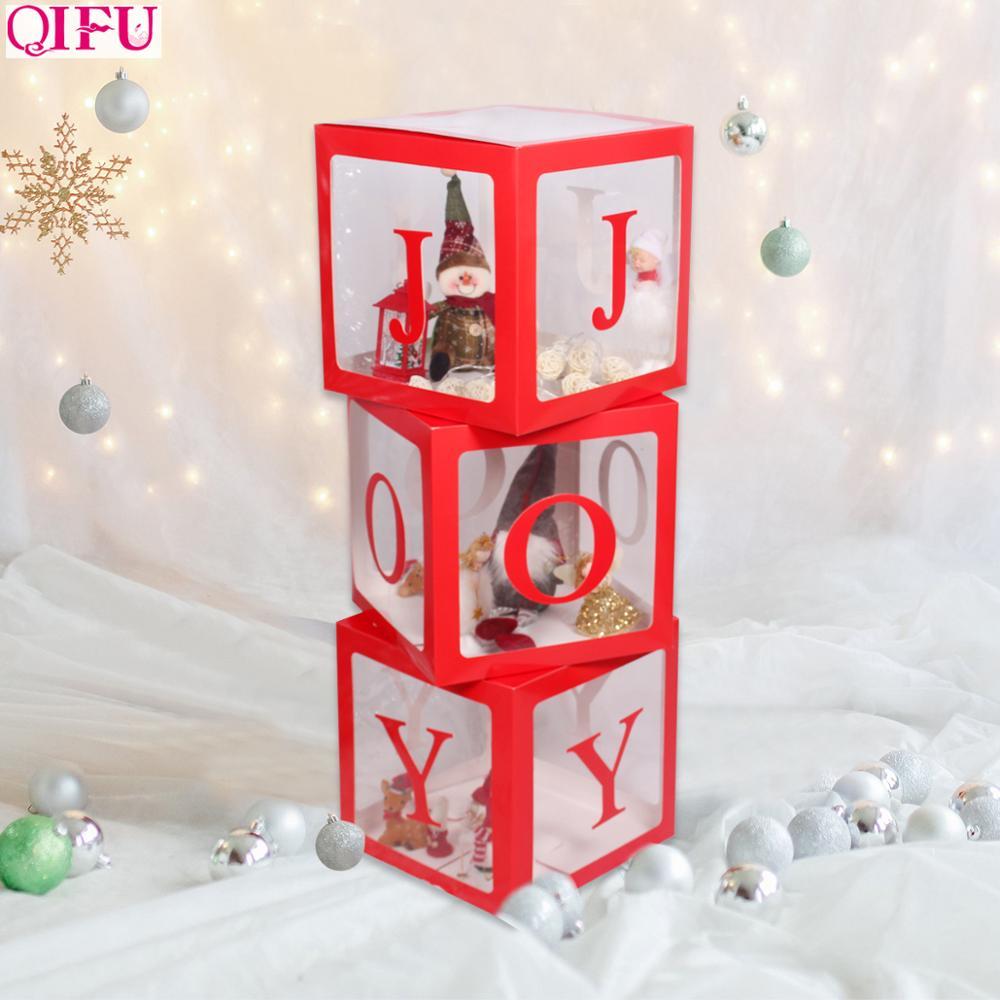 QIFU caja de regalo de Navidad carta muñeca de la alegría caja de embalaje regalos de navidad bolsa de embalaje feliz adornos navideños para el hogar regalos para niños