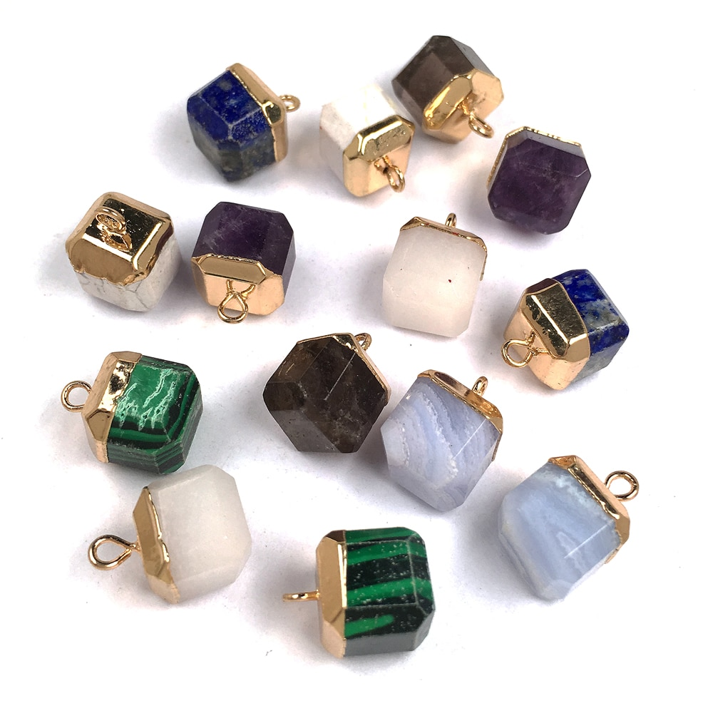 Piedra Natural de cuarzo rosa Natural de piedra de cristal colgantes de oro pintura Natural colgante de gemas collar de joyería