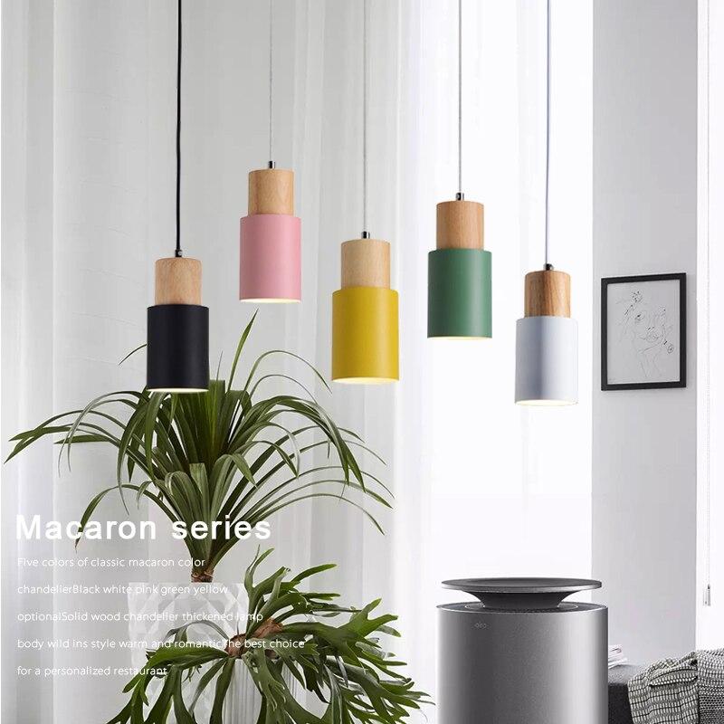 Nordic Simples Luzes Pingente LEVOU Lâmpada Colorida de Alumínio Luminária Cozinha Ilha De Madeira Pendurado bar do hotel casa Loft Art decor E27