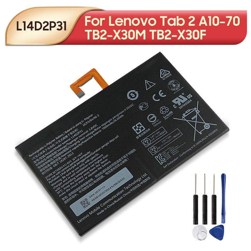 Original Ersatz Batterie L14D2P31 Für Lenovo Tab 2 A10-70 TB2-X30M TB2-X30F Tablet Batterie 7000mAh