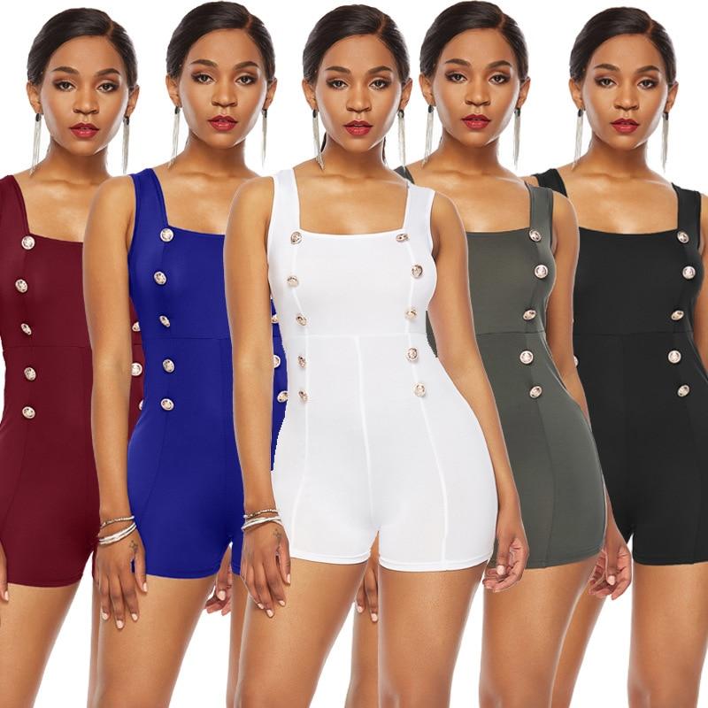 Sexy Women Skinny Jumpsuits Summer Sleeveless Button Design Slim Playsuits Back Zipper Stretch Short Romper