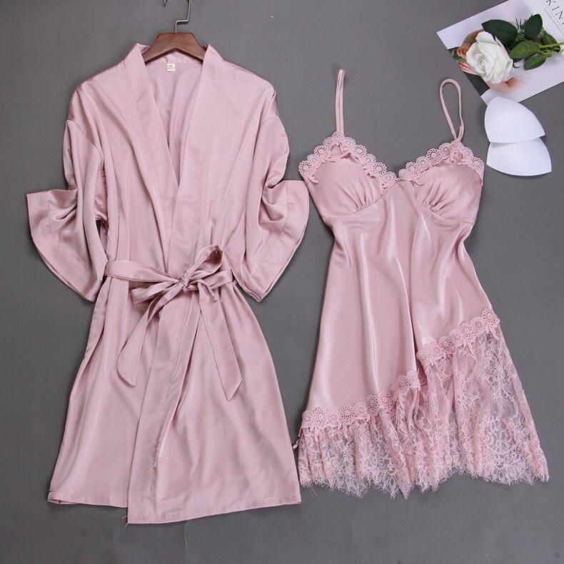 Summer New Sexy 2pcs Nighty&robe Suit Women Lace Patchwork Sleepwear Nightdress Casual Satin Pink Wedding Robe Kimono Gown