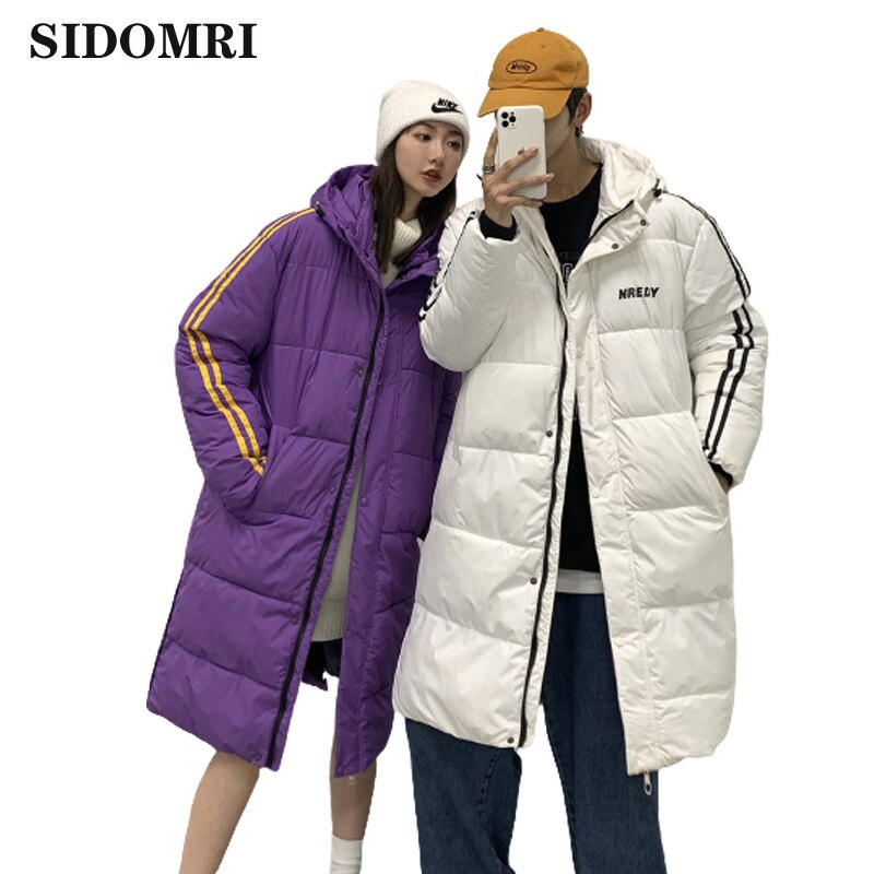 Down jacket for couples  popular trend cotton padded coats  loose hooded bread dresses  mid-long wintIer clothes ins