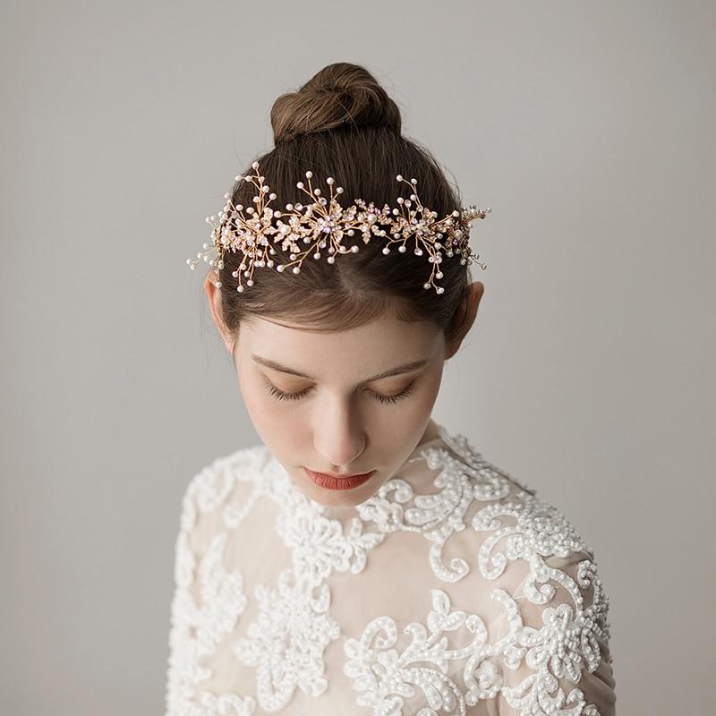 O358 handmade pearl wedding headband headpiece for girl bridal flower hairband hair accessories for wedding o361 ivory white beaded hairband headband beach wedding real freshwater pearl bridal hair accessories