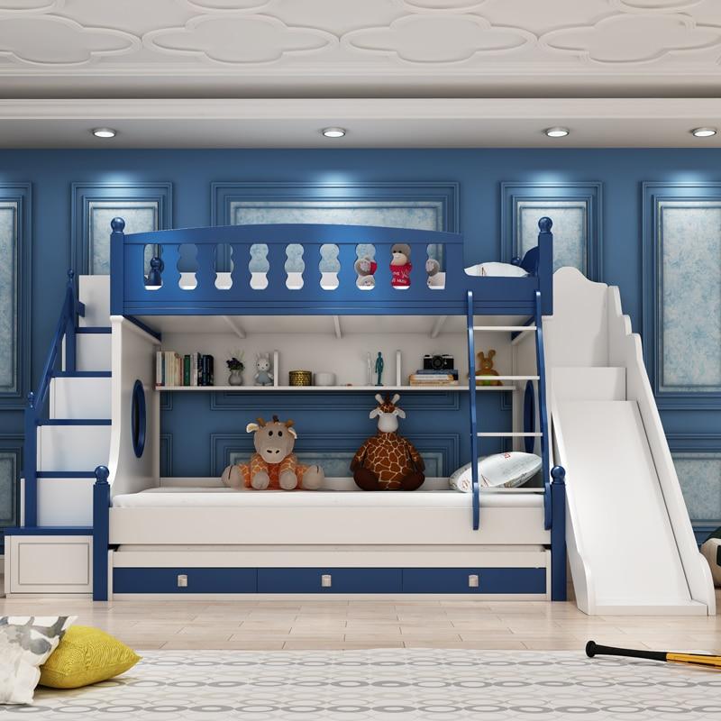 Детская кровать регулируемая по высоте кровать лестница двухъярусная кровать горка многофункциональная комбинированная кровать 1,35 м двух...