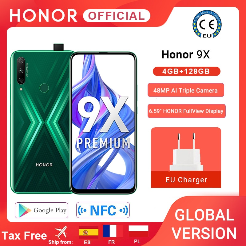 Перейти на Алиэкспресс и купить В наличии глобальная версия Honor 9X 4GB 128GB смартфон 48MP AI троек Камера 6,59 ''мобильный телефон Google Play для мобильного телефона