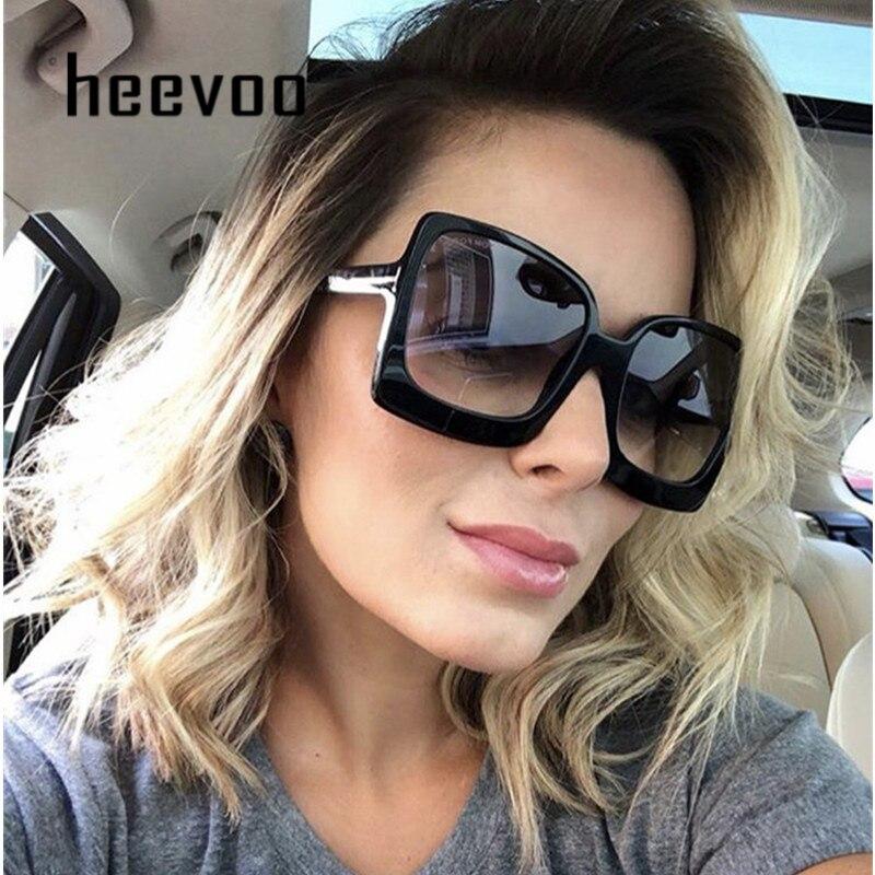 Oversize Square Sunglasse Women Vintage Black Big Frame Sun Galsses Luxury Brand Black Shades UV400 Fashion gafas de sol mujer