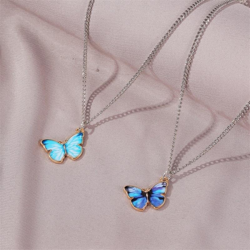 Coreano Blu Gradiente Farfalla Collana per Le Donne Ragazze di Colore Argento Arcobaleno Farfalle Pendente Collana Girocollo Regalo Dei Monili