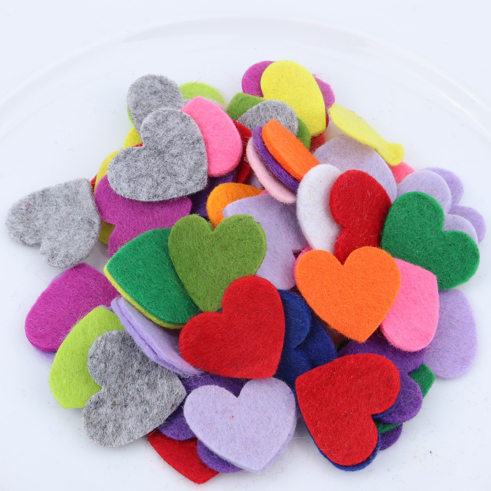 100pc 2mm Thick Non-woven Fabric Felt Heart Padded Patches Appliques For Clothes Sewing Supplies DIY Hair Bow Wedding Decoratio