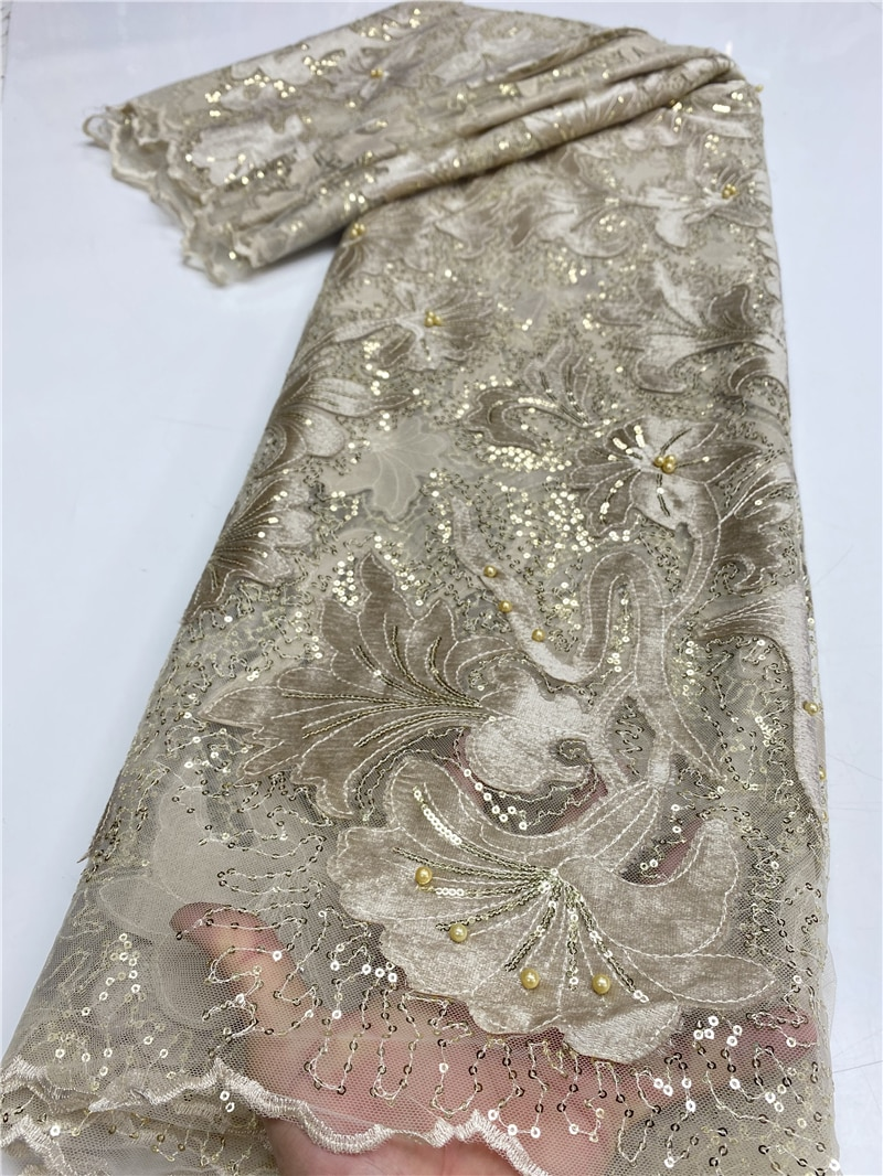 African Velvet Lace Fabric Embroidered Nigerian Sequins Lace Fabrics 2020 High Quality French Tulle Lace Fabric Sewing YA3594B-4 nigerian sequins lace fabrics 2020 high quality lace african lace fabric wedding french tulle lace material sewing ya3712b 6