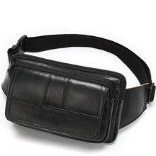 Genuine leather men's waist bag head layer cowhide leather shoulder chest bag retro men's pouch business waist bag Cash register