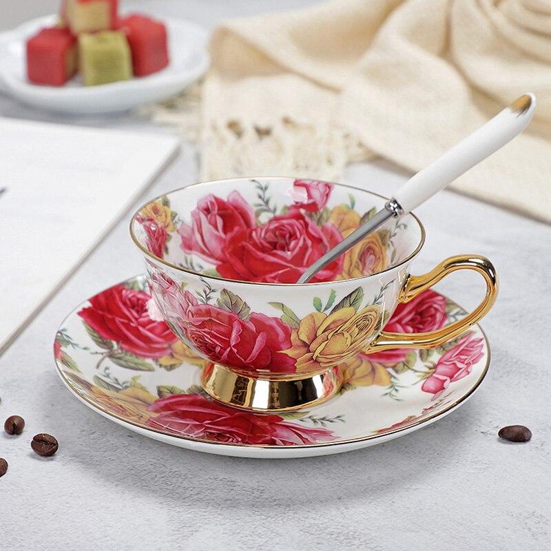 YeFine porcelana tazas de té y platillos de alto grado hueso taza de café de China turco tazas conjunto