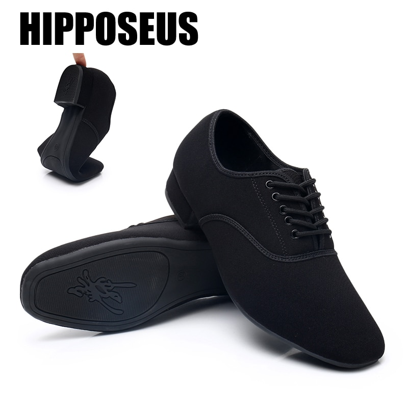 Zapatos de baile de hombre, modernos zapatos de lona de goma/salón de baile suela blanda para/Latino/Jazz/Tango, zapatos de baile nacionales, para hombres tacones de 2,5 cm/niños negro