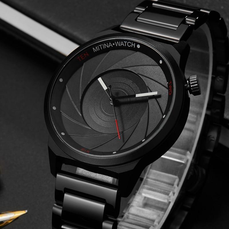 Unique Design Men Black Steel Watch Men Fashion Top Brand Sports  Quartz Wrist Watches Unisex Male Clock Relogio Masculino