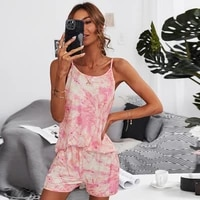summer 2021 two piece pajama set sexy loose waist camisole spaghetti strap tank top mujer tie dye wide leg short suits for women
