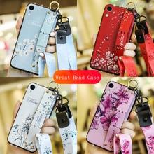 Fashion Lanyard Diamond Border Wristband Phone Case For iPhone 11 Pro Max X XS MAX XR 6 6s 7 8 Plus SE 2020 Bracket Back Cover