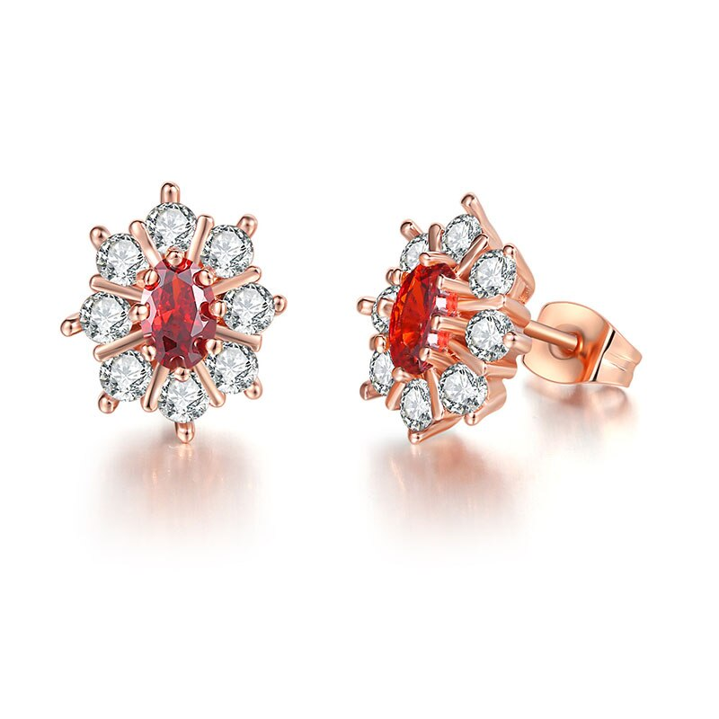 Nueva moda pendientes ovalados de circonia cúbica de cristal rojo austríaco diseño lujoso pendientes coreanos para mujer pendientes de joyería de moda