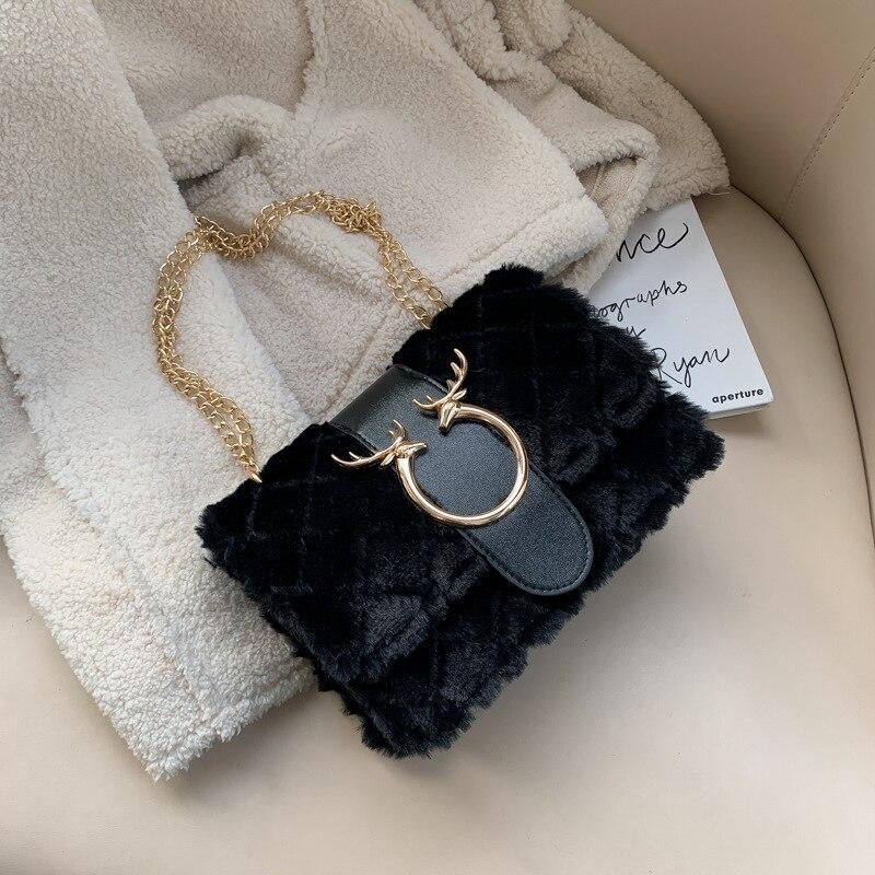 Fashion Female Winter Crossbody Bags Luxury Designer Handbag Deer Lock Soft Plush Chain Shoulder Messenger Bags For Women 2021