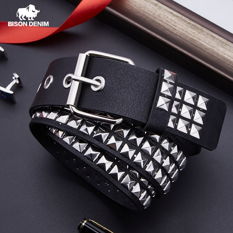 aliexpress.com - BISON DENIM Unisex Fashion Belt Rivet Belt for Women&Men Studded Belt Punk Rock With Pin Buckle Woman Belt Black ceinture femme