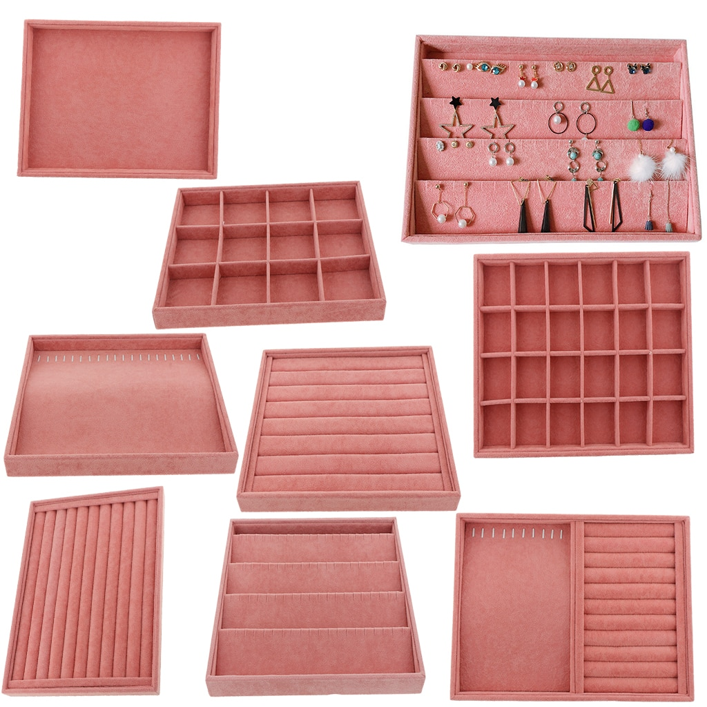 Velvet Ring Earrings Necklace Jewelry Display Organizer Box Tray Showcase Holder Jewelry Storage Box Earring Plate 7 pieces lot modern white pu leather flower jewelry display cabinet wooden pendant necklace earring plate tray display board