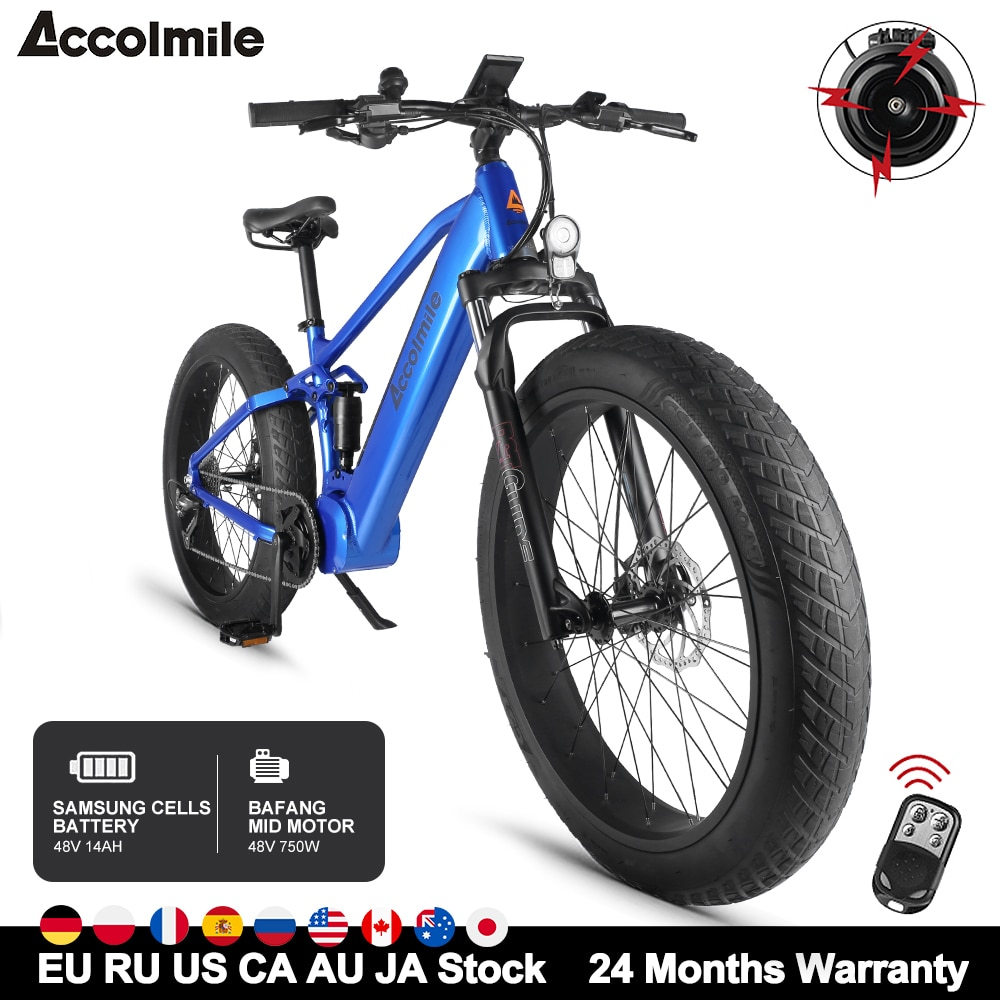 Accolmile-Bicicleta eléctrica para hombre y mujer, bici de montaña y nieve, potente,...