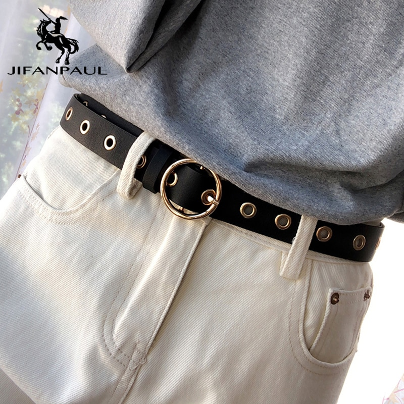 Jifanpaul Dames Luxe Merk Mode Riem Legering Pin Gesp Dunne Riem Zoete Schoonheid Verstelbare Riem Jeans Dragen Matching Stukken