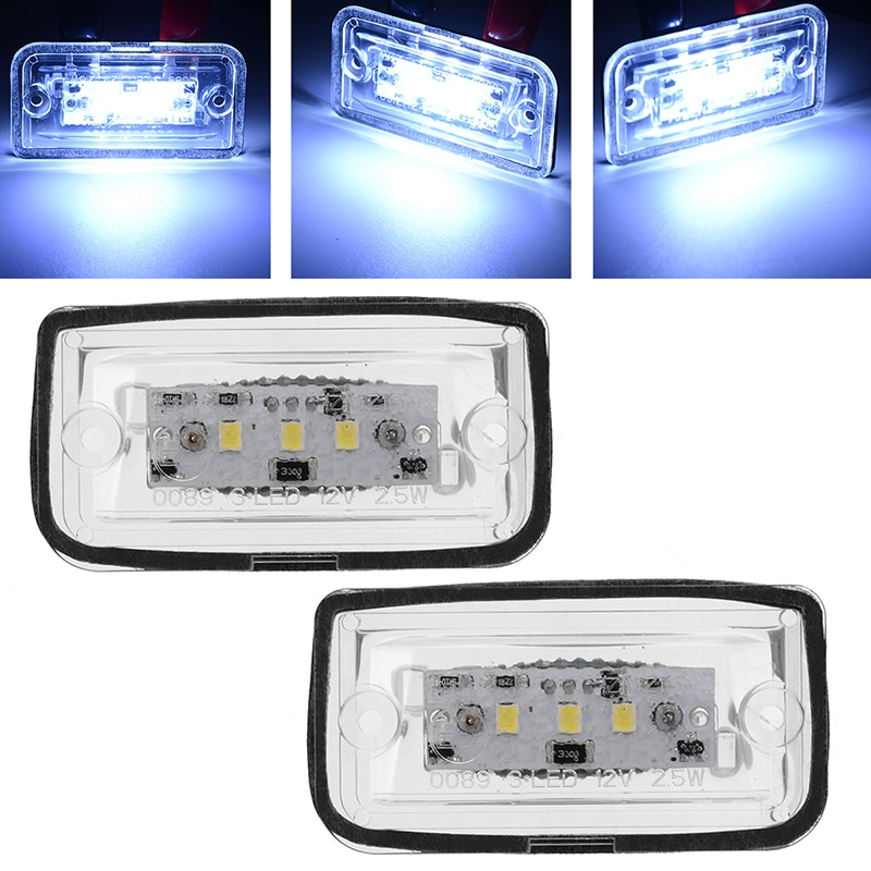 2 uds luces de matrícula de coche luz LED para placa de matrícula 6000K lámpara de placa de matrícula marco para Mercedes Benz CLK280 500 W209 C209