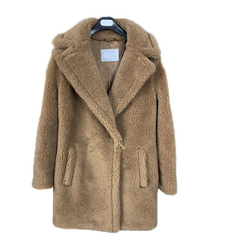 دافئ سميكة تيدي بير معطف الجمل الشتاء الطبيعية الأغنام الفراء العشب ضئيلة سترة الإناث زر واحد صغير قصير 2021 جديد