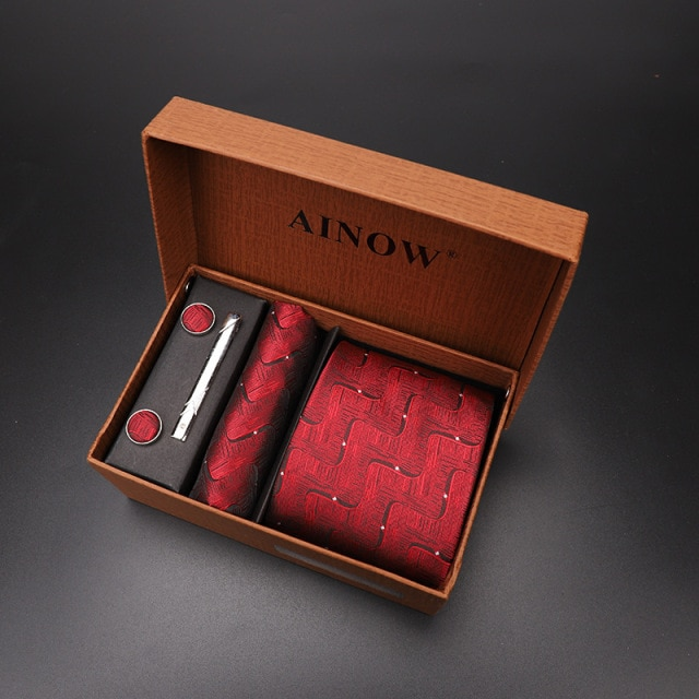 luxury tie set gift box for men 2019 jacquard necktie and pocket square clip cufflinks red black blue handkerchief formal dress