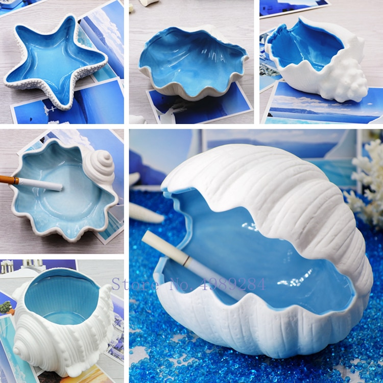 Cenicero de cerámica nórdica moderno creativo Cenicero de concha Mediterráneo hogar Almacenamiento de escritorio artesanías adornos decorativos