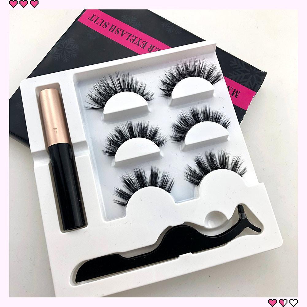 3 Pair Magnetic Liquid Eyeliner Lashes 5 Magnetic Eyelashes 3D Faux Mink Eyelashes Eyeliner Magnetic False Eyelashes Tweezer Set недорого