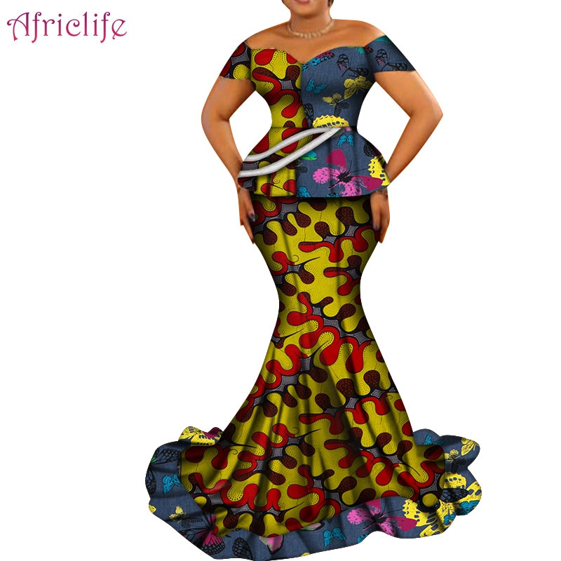 Спешите купить Африканский женский костюм с юбкой, вечерние платья WY6265