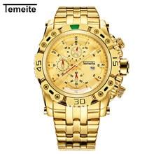 TEMEITE Брендовые мужские часы полная сталь роскошные золотые мужские наручные часы Кварцевые водонепроницаемые мужские часы Citizen movement 3D циферблат дизайн