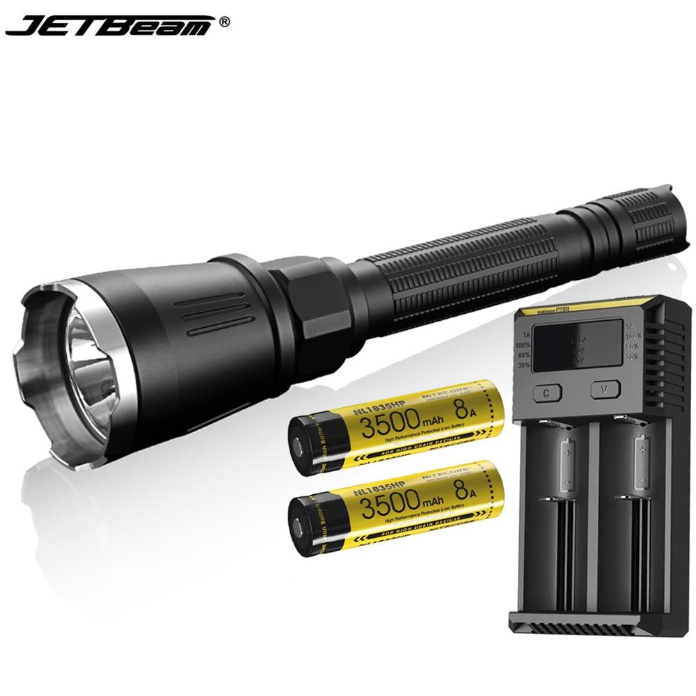 JETBeam BC40 PRO LED linterna CREE XHP50 2930LM haz linterna táctica + NITECORE 3500mAh baterías para la búsqueda de caza