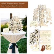 Livre dor en bois pour arbre 3d   Arbre en forme de cœur, pendentif en bois, ornements goutte, décoration pour fête mariage Z2
