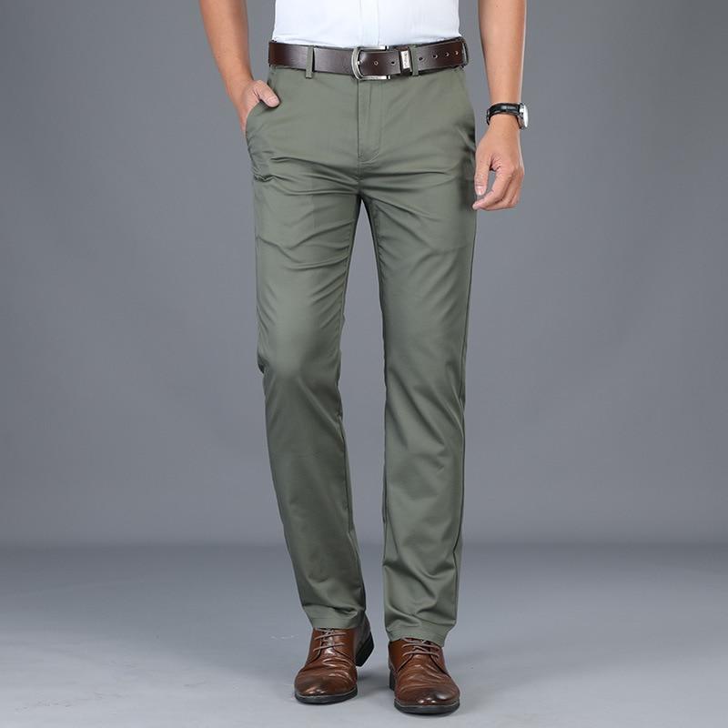 Весенние и осенние повседневные мужские брюки, свободные прямые мужские брюки, Стрейчевые деловые брюки среднего возраста, мужские брюки в ...