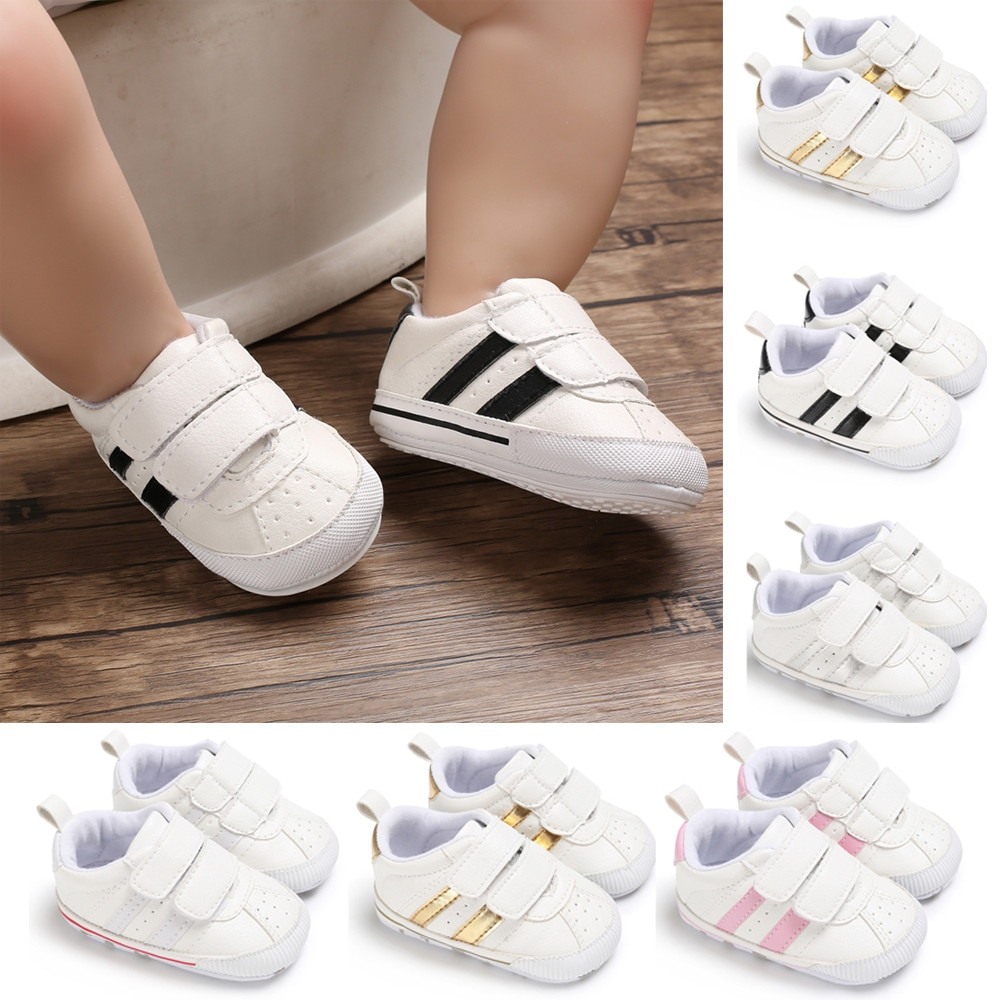 Fashion Toddler Baby 0-18M Soft Sole Hook Loop Prewalker Sneakers Baby Boy Girl Crib Shoes Leather S