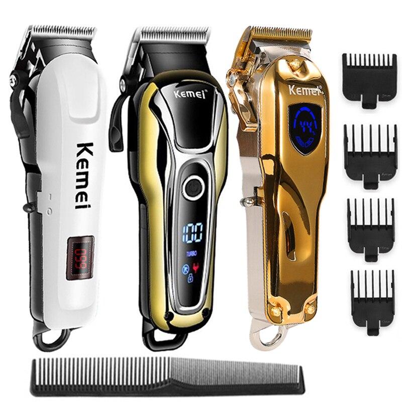 Kemei-ماكينة قص الشعر الاحترافية للرجال ، ماكينة حلاقة كهربائية قابلة لإعادة الشحن لقص الشعر وحلاقة اللحية والشعر