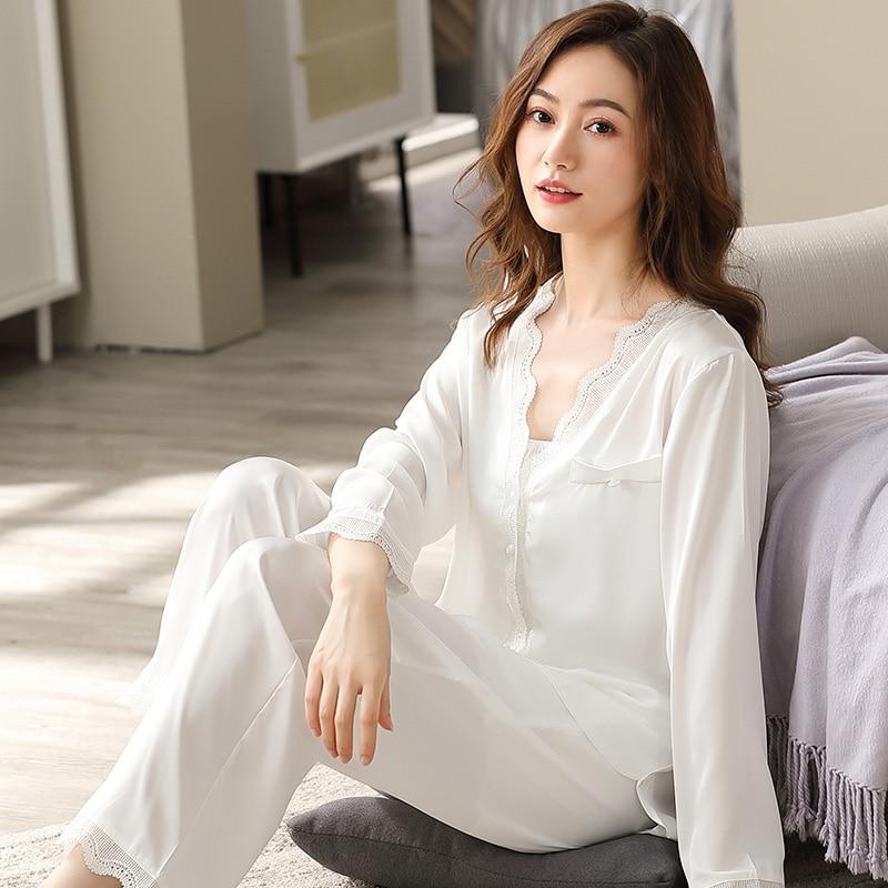 Summer Satin Pajamas Set Women 2021 Thin Pyjama Mujer PJs White Bedroom Sleepwear Nightwear Satin Si
