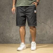 Grande taille 40 42 44 46 hommes jean Shorts été nouvelle mode décontracté ample droite Stretch Denim Shorts homme marque noir bleu