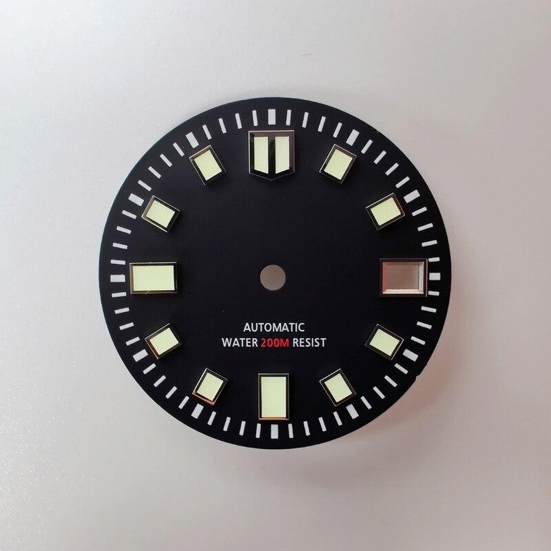 Skx007-قطع غيار الساعة ، 28.5 مللي متر ، علامات مضيئة ، تاريخ النافذة C3 ، مصباح مناسب لـ NH35A ، قرص ساعة الحركة الأوتوماتيكي