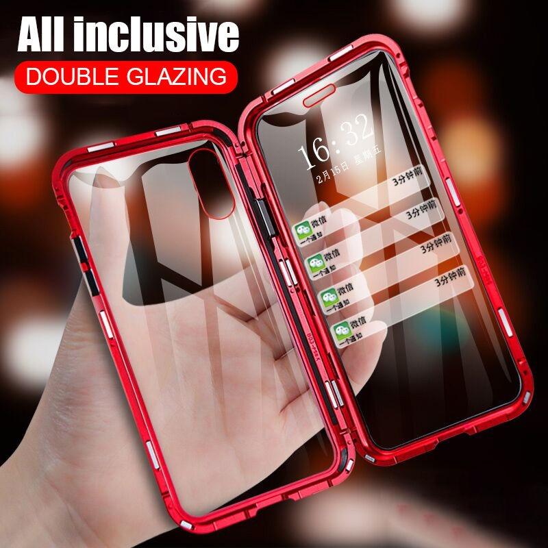 Adsorção magnética caixa de metal para iphone 11 11pro xr xs max 7 8 plus vidro dupla face temperado capa protetora completa