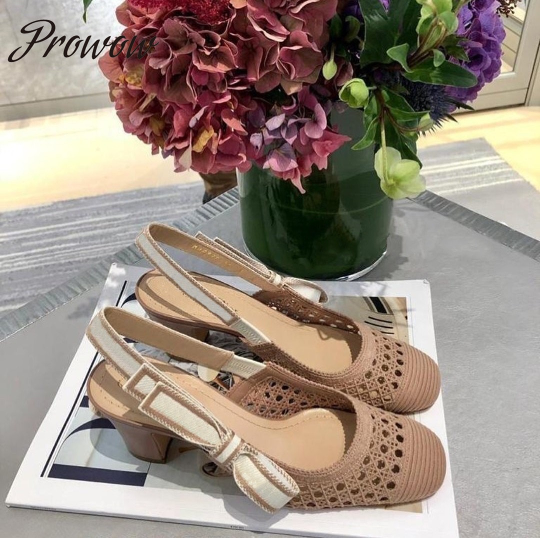 Prowow New Breathable Spring Breathable Knitted Pumps Slingback Kitten Heel Office Dress Shoes Women