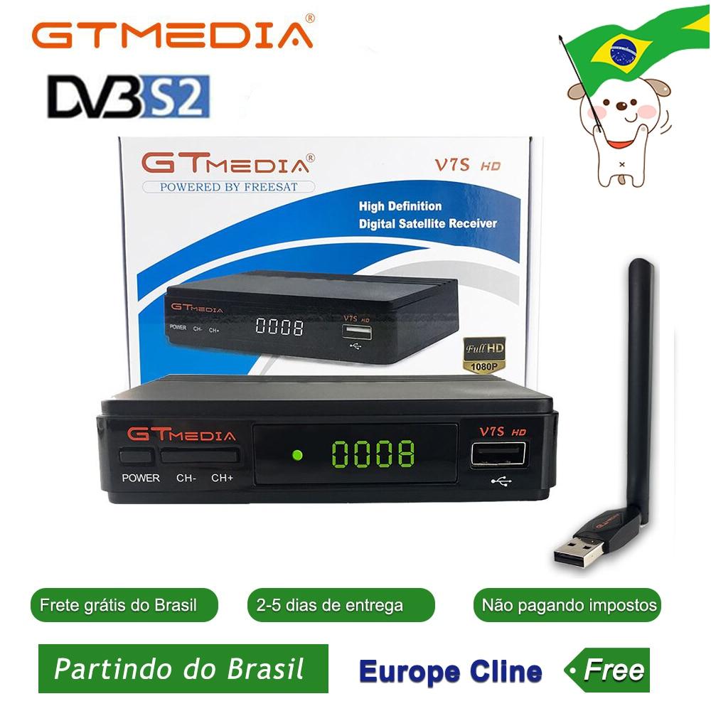Caliente DVB-S2 Freesat V7 hd con USB WIFI FTA receptor de TV gtmedia v7s hd potencia por freesat soporte Línea de Europa compartir Red Por BR