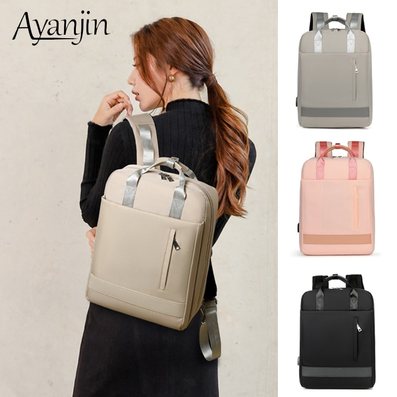 USB Charging Women Backpack For Macbook Air 13 Case Laptop Bag 15.6 15 14 Pro 13.3 Inch Waterproof Handbag For Xiaomi Samsung HP