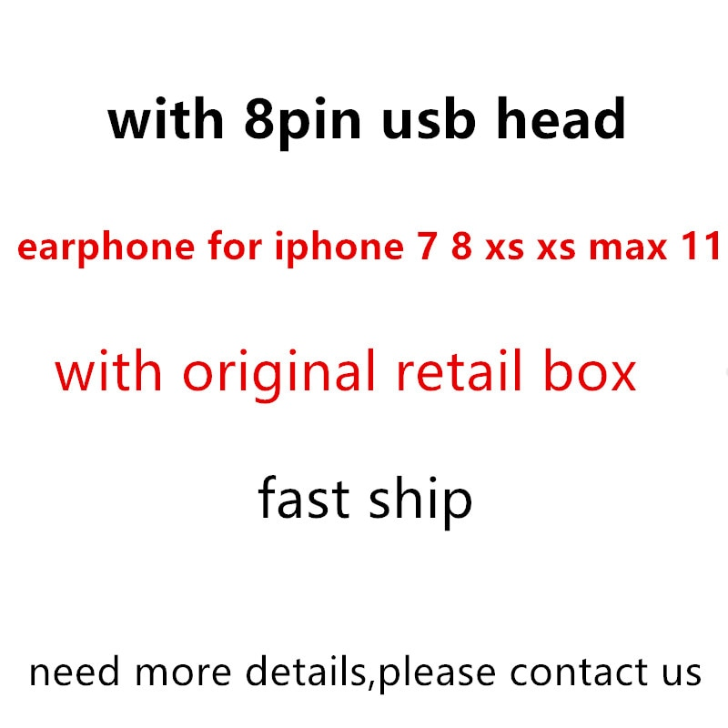 Get 8pin ios Earphone with microphone Wired Stereo Earphones for iPhone 8 7 Plus X XS MAX XR 11 for huawei samsung Earbuds