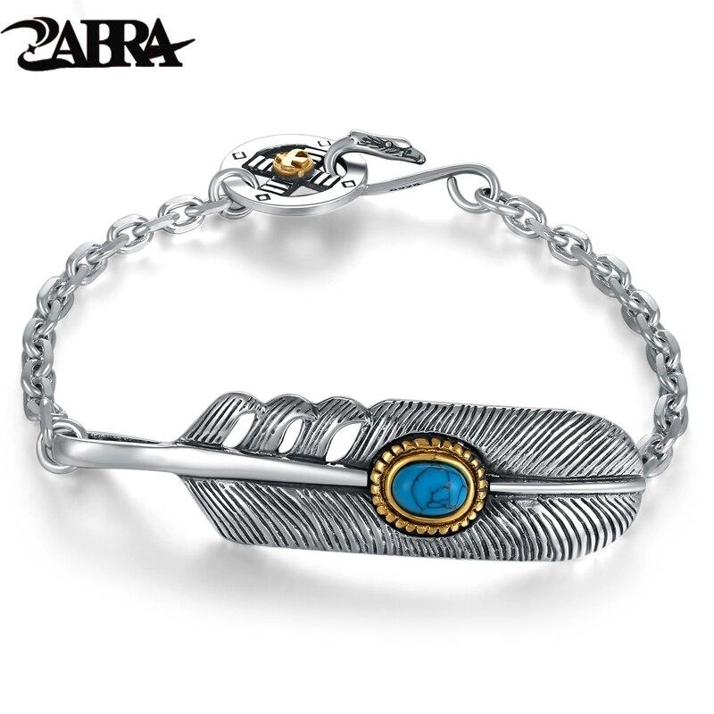 ZABRA 925 Sterling Silver Fashion Zircon Stone Feather Bracelet Bangle Men Women Vintage Punk Rock Handmade Mens Jewelry