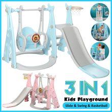 3 en 1 enfants panneau coulissant balançoire maison enfants aire de jeux en plastique toboggan basket-ball jouet ensemble intérieur maternelle balançoire pour enfant
